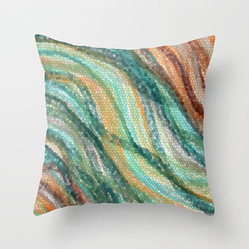 Warm Colors Throw Pillow, teal and bronze, modern mosaic look, home decor refresh