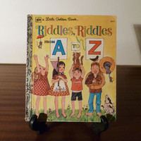 """Vintage 1970s Children's Book """"Riddles, Riddles From A to Z"""" - A little Golden Book / Retro Kids Book / Learn the Alphabet"""