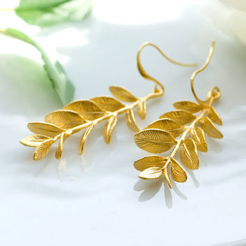 Vine earrings, Leaf earrings, Gold leaf earrings, Bridal earrings, Gold long earrings, Organic earrings, Grecian goddess earrings