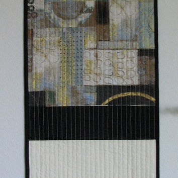 Black and white quilted wall hanging table runner art quilt