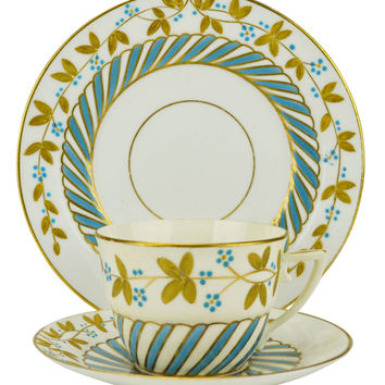2 Cups Saucers and Cake Plates Turquoise Gold Antique English circa 1875