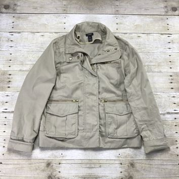J.CREW Khaki Jacket with Gold Zippers Womens Size Small (Petite)