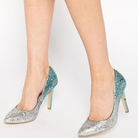 Faith Finchley Mint Ombre Glitter Heeled Court Shoes at asos.com