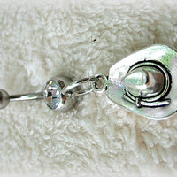 Cowgirl Hat Belly Ring, Country Western Belly Ring,Trending Belly Ring, Country, Western, Redneck,