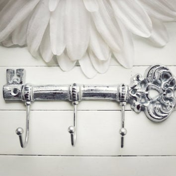 Gift Idea / Cast Iron Key Hook / Iron Key / Wall Key Holder / Key Rack / Decorative Key Hook / Shabby Chic Wall Hook / Silver Decor