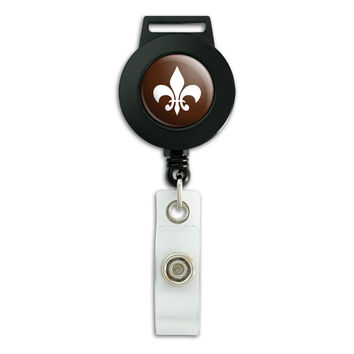 Fleur de Lis Brown Retractable Badge Card ID Holder