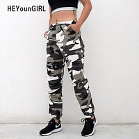 HeyounGIRL Women Camouflage Pants Casual Pink Camo Sweatpant Fashion Harem Gray Camo Pants High Waist Loose Ladies Trousers