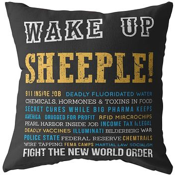 Conspiracy Theory Pillows Wake Up Sheeple Fight The New World Order