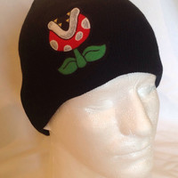 Mario Brothers Piranha Plant Black Beanie Skullcap Hat - made from up-cycled Mario fabric
