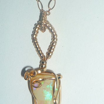 Wire Wrapped 6.5ct Australian Opal Necklace 14K Rolled Gold