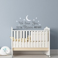 We Love You To The Moon And Back Wall Decal - Nursery Wall Decal - Moon And Stars Nursery Decals - Children Wall Decor - Wall Decals Nursery