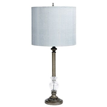 Jubilee Collection 870015-4710 Pewter Large Glass Ball Lamp with Blue Drum Shade