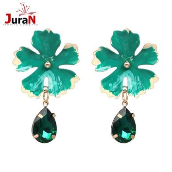 JURAN  Ethnic colorful water drop Crystal Stud earrings 6 colors Enamel Flower Metal big statement earrings for women