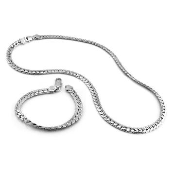 New fashion men's 7MM bracelet / necklace. 100% Solid 925 sterling silver men's jewelry set charm sterling silver jewelry gift
