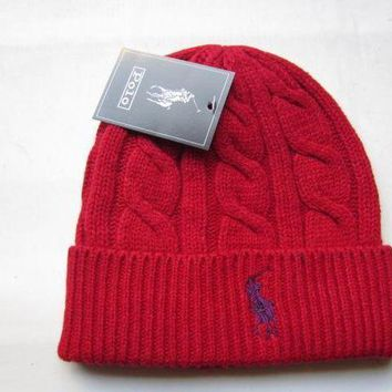 Polo Merino Wool Hat Red Purple