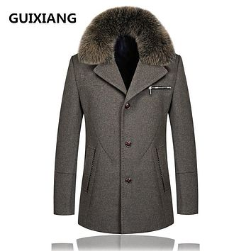 GUIXIANG 2017 autumn new Men's woolen jackets trench coat Men Real fox fur collars Detachable windbreaker woolen overcoat