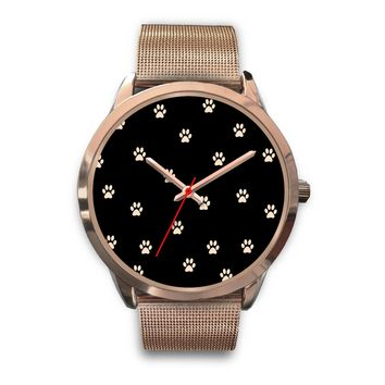 Custom Designed Rose Gold Stainless Steel Alloy Cat Paw Prints Watch
