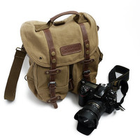Safari Canvas Camera Bag Canvas Hand Crafted Canvas DSLR Bag Cowhide Backpack F1006 Yellow