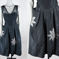 Vintage 50s Dress / 1950s Black Taffeta and Lace Full Skirt Dress with Floral Insets M