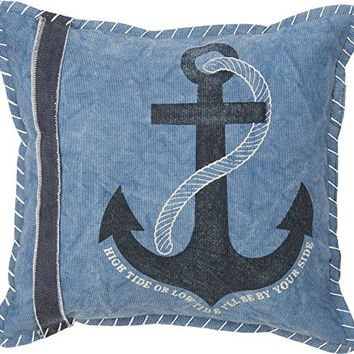 High Tide Or Low Tide I Will Be By Your Side - Anchor Blue Decorative Throw Pillow 12-In Square