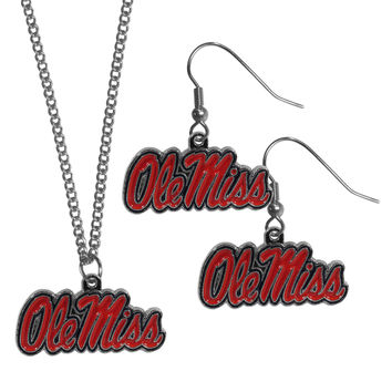 Mississippi Rebels Dangle Earrings and Chain Necklace Set