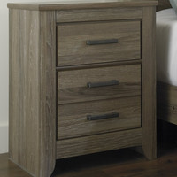 0-017767>Zelen Two Drawer Night Stand Warm Gray