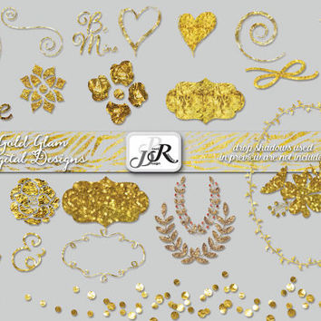 Gold Foil Wedding Clipart, Glam Shapes and Border, Confetti, Gold Floral Glitz clipart