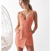 Best selling women's waist dress independent stand explosions straps deep V bag hip skirt(Only 1 piece)