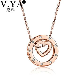 V.YA 925 Sterling Silver Crystal Heart Pendant Necklaces For Women Silver Necklace Double Circle Pendant Hollow Heart Pendant
