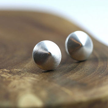 studs, posts, sterling silver, small, earrings, spinning top, etsymetal team