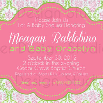 Green Pink Damask Shabby Chic Baby Shower Invitation - Printable