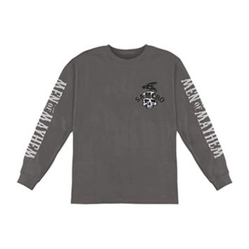 Sons Of Anarchy Men's  SOA 2 Sided Long Sleeve Grey Rockabilia