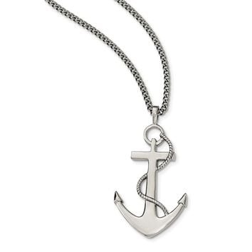 Stainless Steel Polished Anchor Mariner Cross Necklace 24in