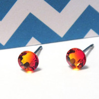 Orange Lava Fire Opal 4.8mm Swarovski Crystal Surgical Steel Stud Earrings