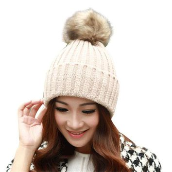 Casual Beanies Women Winter Hats Crochet Knitting Wool Cap Fur Pompons Ball Warm women's Hat Thick Female Caps Gorros chapeu