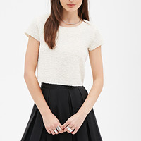 FOREVER 21 Sequined Wavy-Knit Top Cream