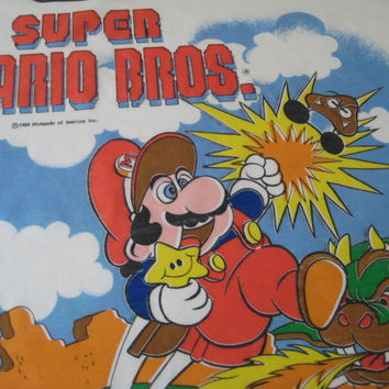 RARE Vintage Nintendo Super Mario Pillowcase Legend of Zelda Boy Girl Kid Decor Kids Bedding Pillow Slip 1988 Reversible Clean UNUSED HTF