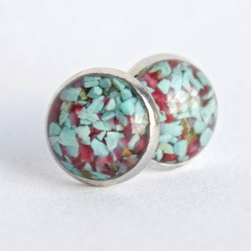 8mm Turquoise and Red Coral Stud Earrings. Tiny Turquoise Studs. Tiny Turquoise Earrings Turquoise Studs Turquoise Stone Earrings