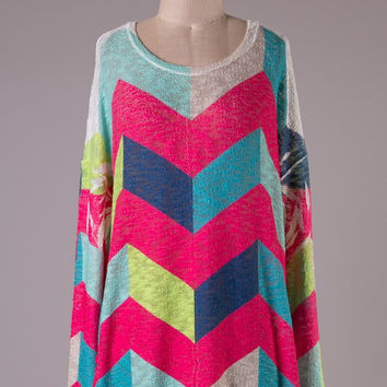 Fuchsia Chevron Tunic Top