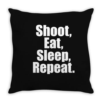 Eat Sleep Shoot Repeat Throw Pillow
