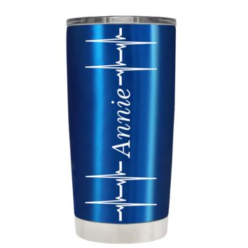 Personalized Heart Beat Pulse on Translucent Blue 20 oz Tumbler Cup