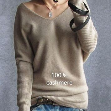 autumn winter cashmere sweaters women fashion sexy v-neck sweater loose 100% wool sweater batwing sleeve plus size pullover