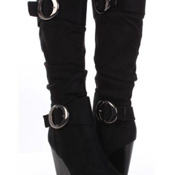 Black Faux Suede Slouchy Buckled Wedge Boots @ Amiclubwear Boots Catalog:women's winter boots,leather thigh high boots,black platform knee high boots,over the knee boots,Go Go boots,cowgirl boots,gladiator boots,womens dress boots,skirt boots,pink boots,f