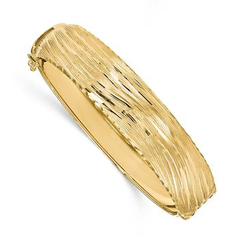 14.25mm 14k Yellow Gold Textured & D/C Hinged Bangle Bracelet