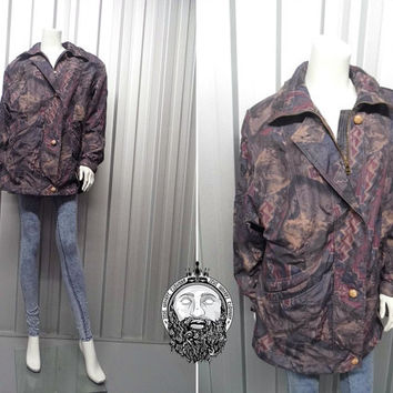 Vintage 90s Crazy Pattern Womens Parka Oversized Coat Grunge Jacket Indie Abstract Print Hipster Jacket Rave Jacket Light Weight Padded