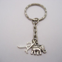 Elephant Keychain Small Elephant Keychain Personalized Keychain Initial Keychain Customized Gifts Under 10 Elephant Lover Gift