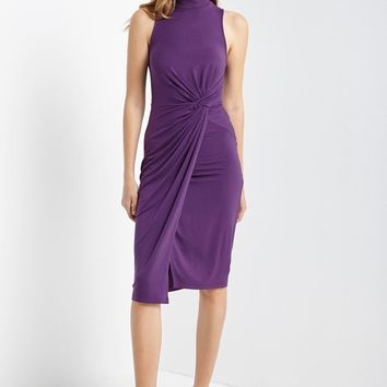 Purple Ruched Front Bodycon Dress