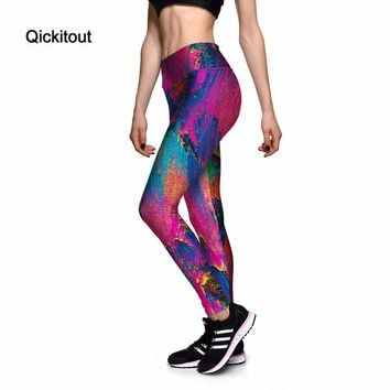 Qickitout Leggings Sexy Women's Pretty Color Abstract Painting 3D Print PANTS Women High Waist Pants Trousers Fitness Top Sales