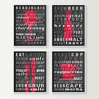 Dining Room Decor - Subway Art Prints Red Shown - Wine Beer Fork Knife & Coffee or Tea - Kitchen Prints - Modern Dining or Kitchen Wall Art