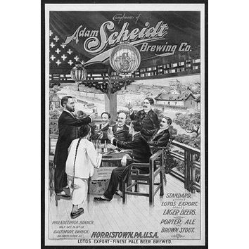 Vintage Beer Hall Poster Standup 4inx6in black and white